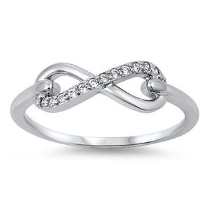 Jewelry - Sterling Silver 925 Infinity Ring with Clear CZ